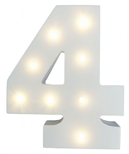 White Wooden Light Up Number 4